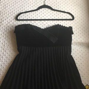 Betsey Johnson dress black strapless velvet pleats